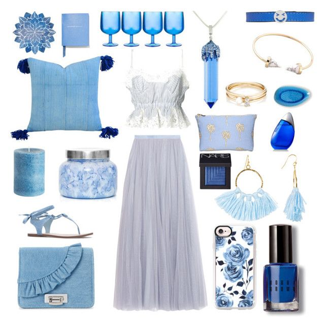 """💙Once in a blue moon💙"" by xellalikesukulelesx on Polyvore featuring Needle & Thread, Sacai, La Regale, Casetify, Taolei, Capri Blue, Pier 1 Imports, Bobbi Brown Cosmetics, Elizabeth Scarlett and Nautica"