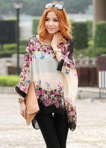 Pastoral Style Flower Print High Low Hem Loose Tees – teeteecee - fashion in style