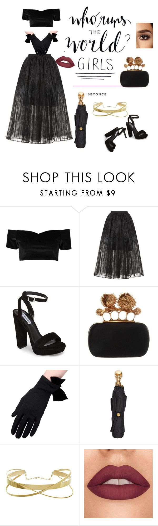 """Black beauty"" by hennessy-dxn ❤ liked on Polyvore featuring Boohoo, Elie Saab, Steve Madden, Alexander McQueen, girlpower and powerlook"