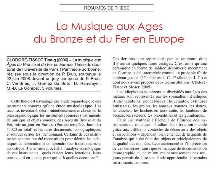 La musique aux Âges du Bronze et du Fer en Europe, cliquez sur l'image pour lire l'article.