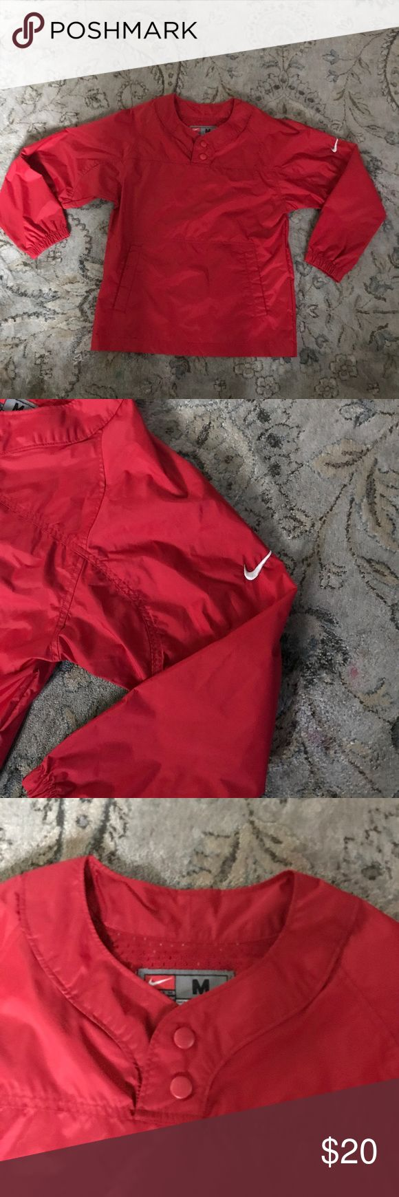 Red Nike team windbreaker Never worn Nike team jacket. Has two front pockets size 10-12 Nike Jackets & Coats Raincoats