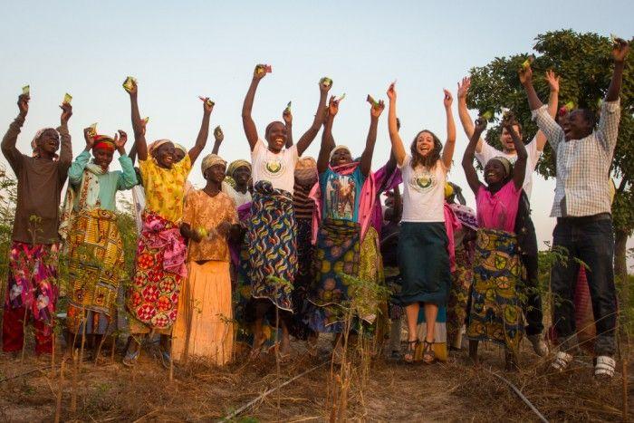 Lisa Curtis of Kuli Kuli with Moringa harvesters and farmers in Zambia. Image: Kuli Kuli