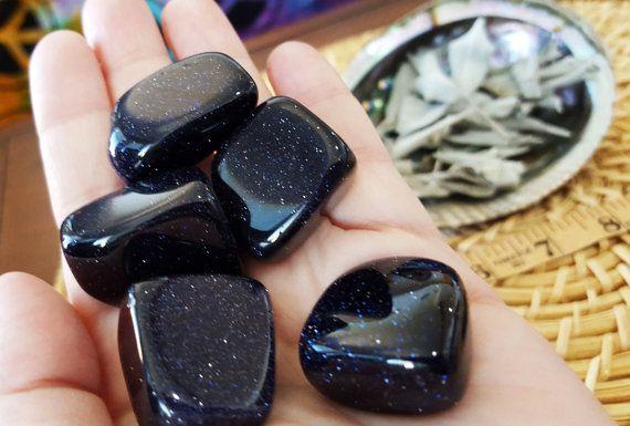 Blue Goldstone ~ 1 medium/large Reiki infused tumbled stone