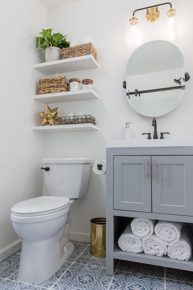 Most bathrooms are short on storage, so installing floating shelves above the to…   – Baths