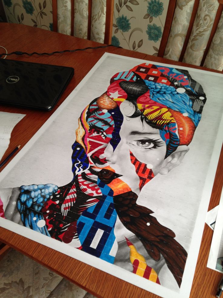 finished copy of Tristan Eaton's 'audrey of mulberry' mural. using mixed media: acrylic paints, watercolours, fine liners, pencils