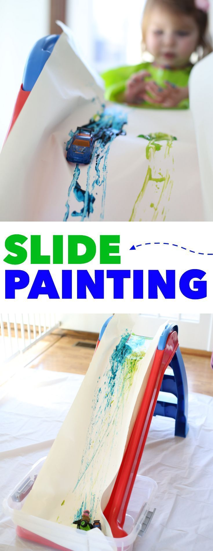 Slide Painting:  A super fun indoor or outdoor process art activity for toddlers or preschoolers!  Use cars, balls, or anything that rolls!
