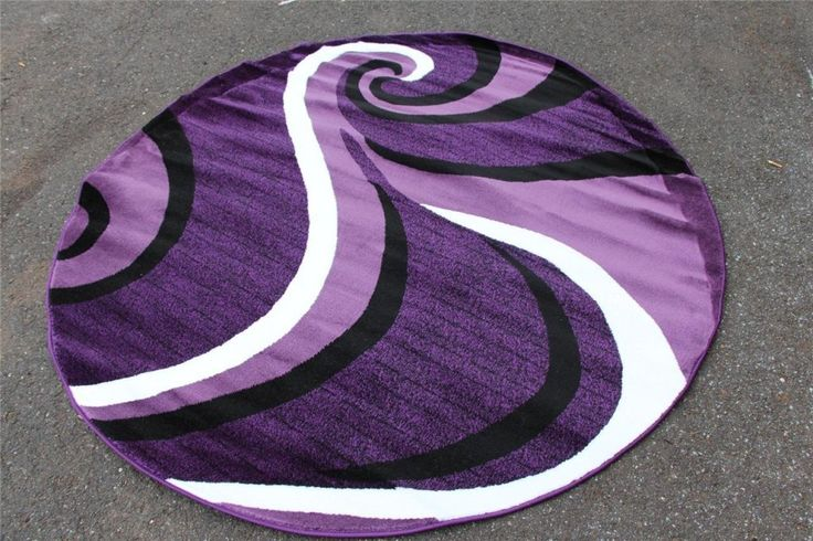 Round Purple Area Rug With White And Black Colors
