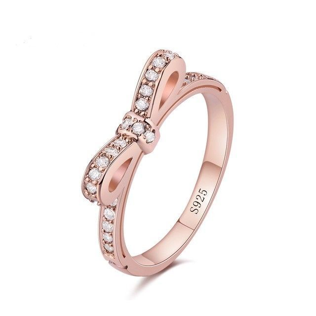 Pandora Rose Gold Plated Womens Crystal Bow Ring 925 SS Sizes 6 - 9 Available