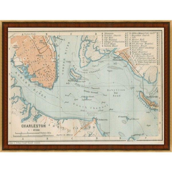South Carolina Home Decor South Carolina Art Columbia Sc: Vintage Print Gallery Map Of Charleston, South Carolina