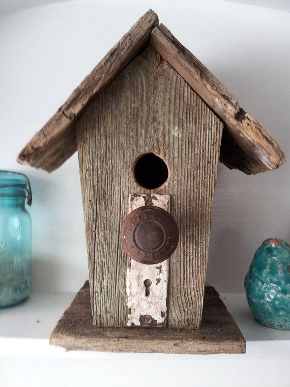 Rustic Barnwood Birdhouse With Vintage Door Knob By