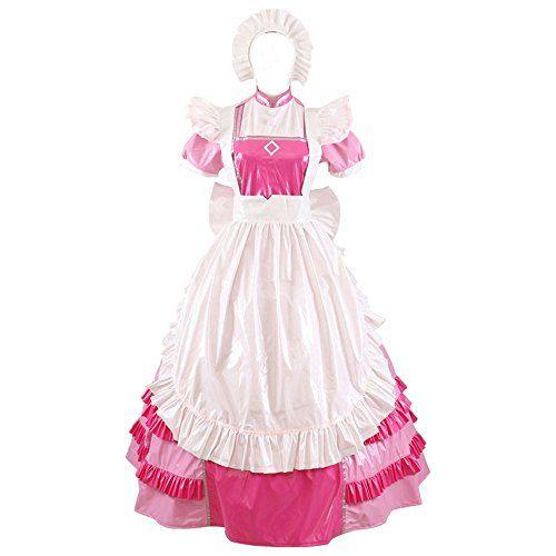 Sissy Maid PVC Lockable Style Long Pink Dress Uniform by Gocebaby