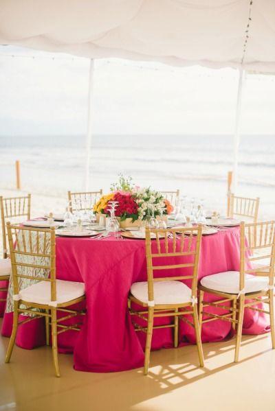 Pink tablecloths: http://www.stylemepretty.com/destination-weddings/2015/05/18/colorful-puerto-vallarta-destination-wedding/ | Photography: Sarah McKenzie - http://www.sarahmckenziephoto.com/