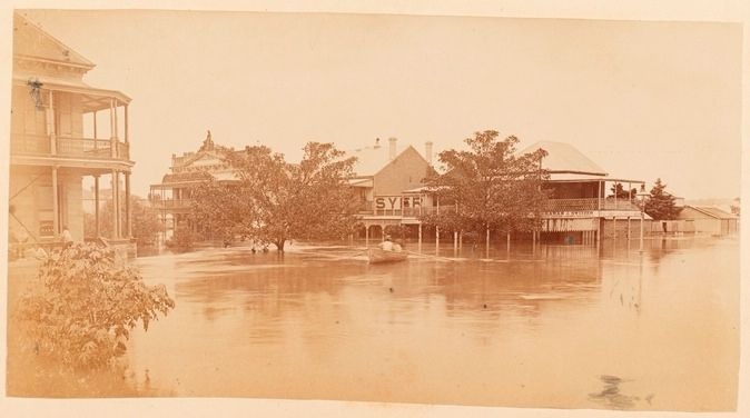 Corner of Prince & Fitzroy Street Grafton, 1887 Flood - Carl Ehlers Collection - State Library of NSW