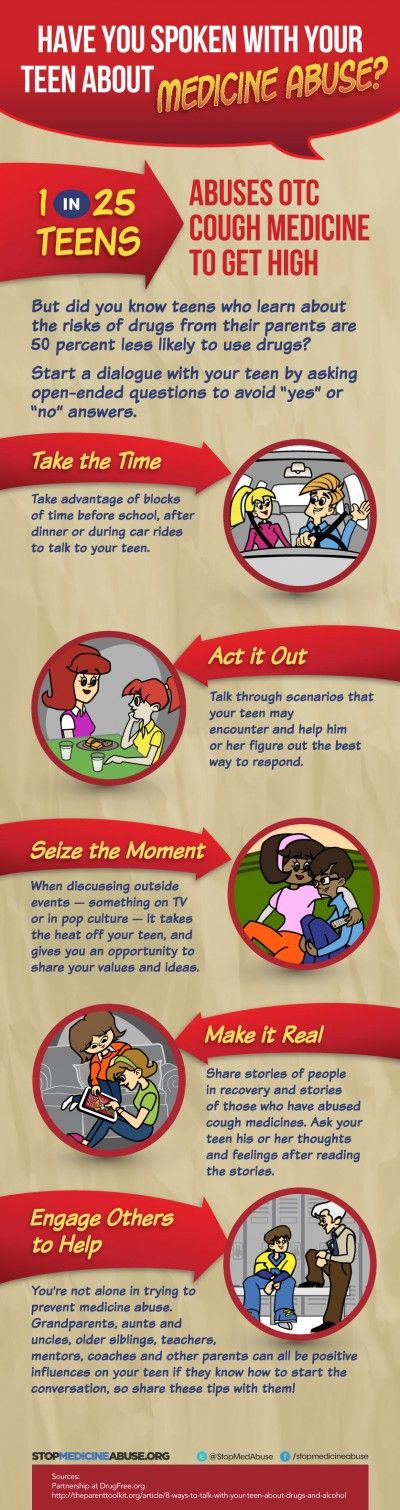 Tips for talking with kids about medicine abuse. Did you know 1 in 25 teens abuses OTC cough medicine?