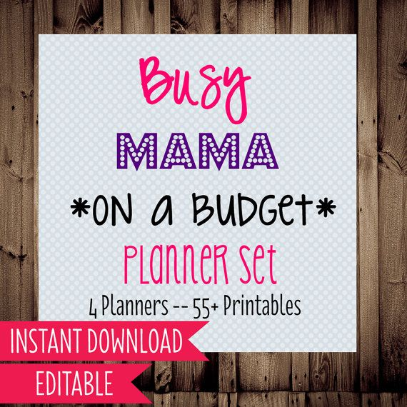50% off Busy Mama on a Budget printable planner set- includes schedule & routine planners, meal planning, cleaning checklists, and budget & finances planner... over 55 printables