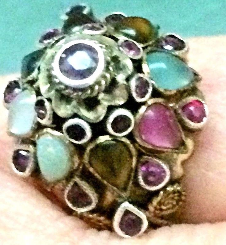 Antique Princess Ring Thailand Multi Gemstone Dome 14k Gold early 1960s Size 7Mary Jo Perdue