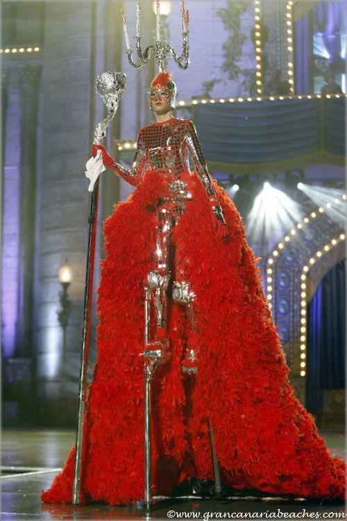 "Carnival Queen Contest of Las Palmas de Gran Canaria, Canary Islands, Spain. Feb. 1st 2013. Moneiba Álvarez, wore a dress on stilts, called ""Un solo baile"" (""Just one dance"")"