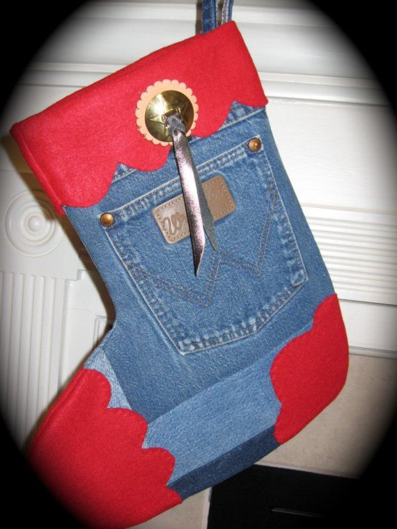 I love this stocking, perfect for little boys   Wrangler Jean Christmas Stocking  by ChristmasGal.etsy.com