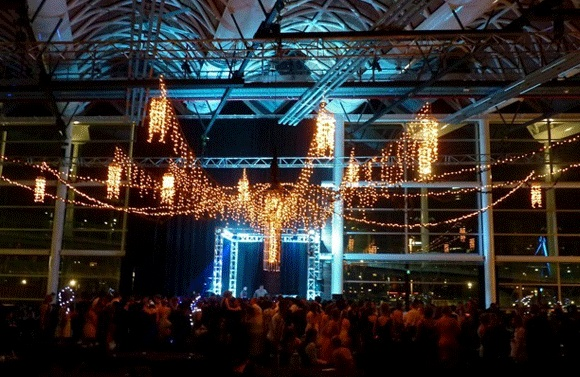 Grand fairy light ceiling piece Viaduct event centre Auckland