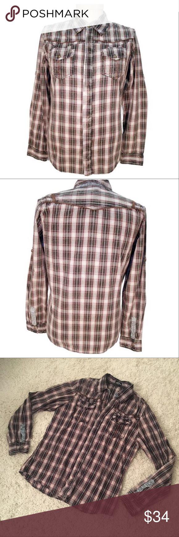 "X-RAY MEN'S Plaid shirt X-RAY MEN'S plaid Tritis button down shirt in charcoal | 100% cotton | size M | inseam is 15"" x-ray Shirts Casual Button Down Shirts"