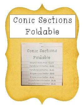 Conic Sections Foldable/Notes is designed to help students learn and practice knowledge based on three conic sections: Parabolas, Ellipses, and Hyperbolas.Students are asked to solve for equations in standard form and identify certain information that pertains to each conic section. (Described below)Parabolas:1.