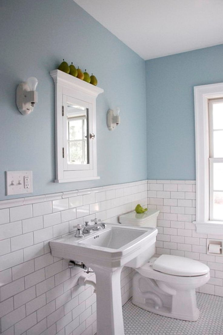 Bathroom Subway Tile Walls Pale Blue Color And Silver Grout Arctic White With Pedestal Sink