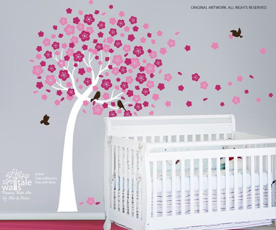 $69 Cherry tree decals, Cherry tree stickers for nursery,tree wall decals,tree stickers