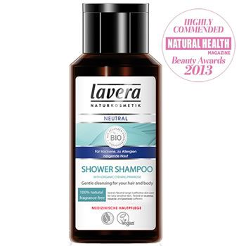 Lavera Neutral Organic Shower Shampoo is perfect for men and women with very sensitive skin and scalp.   http://www.pravera.co.uk/shop/lavera-cosmetics/bath-care/shower-gel/neutral-natural-shower-shampoo-200ml-for-hair-body-very-sensitive-and-easily-irritated-skin