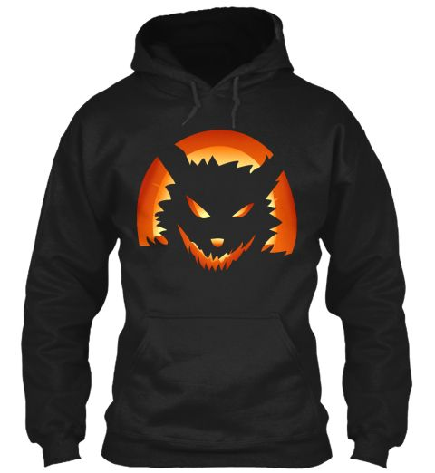 Wolf Pumpkin Black T-Shirt Front