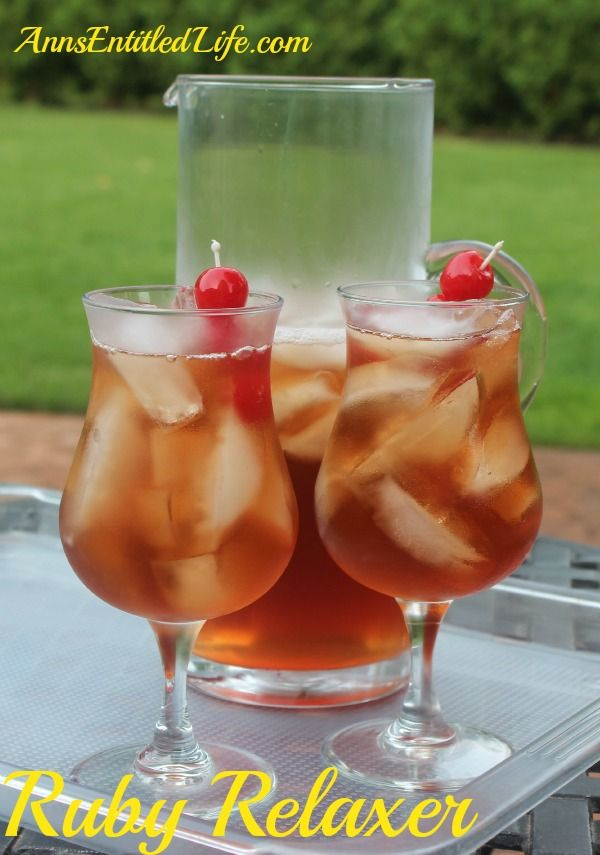 Ruby Relaxer Cocktail Recipe By Ann How to Make a Ruby Relaxer Cocktail. A wonderfully refreshing drink, perfect for relaxing in the backyard, by the pool, or while watching the big game. Prep Time: 5 minutes Ingredients: • 1/2 cup Coconut Rum • 1/2 cup Vodka • 1/2 cup Peach Schnapps • 1...
