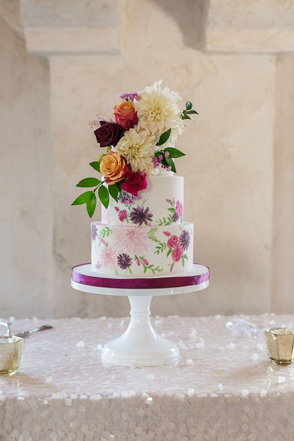 Floral print wedding cake    #wedding #weddings #engaged #aislesociety #weddinginspiration #realwedding