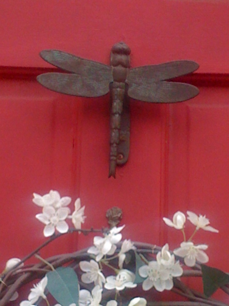 Dragonfly Door Knocker And Its On A Red Door Too Perfect