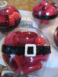 Shredded red paper, clear ornament and puffy paint?