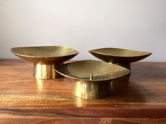 Hammered Brass Candle Holders Pillar Candle Holders Brass