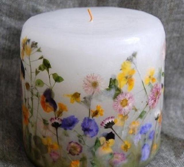 Decorar velas con flores naturales | Ideas para Decoracion