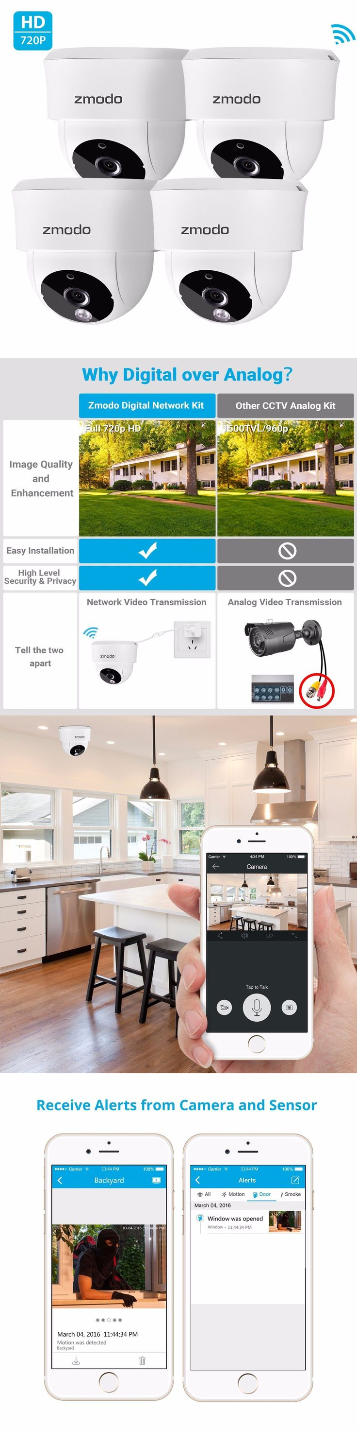 Surveillance Security Systems: Zmodo 720P Hd 4 Ip Wireless Indoor Ir Night Vision Home Security Camera System -> BUY IT NOW ONLY: $99.99 on eBay!