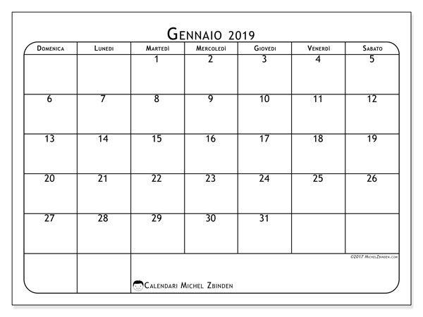 Calendario Gennaio.Calendario Gennaio 2019 51ds Mesi Calendar March