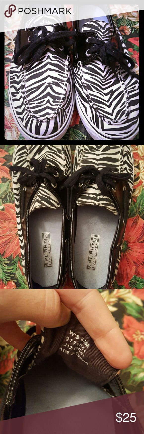 Sperrys Top Sider Women's Zebra Boat Shoes Sperrys boat shoes, very gently used, worn maybe 3 times, no rips or stains Sperry Top-Sider Shoes Espadrilles