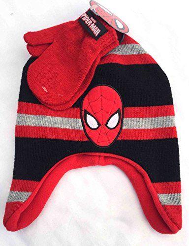 Spider Man Beanie Hat Mittens Set Red Striped Winter Knit Boys Toddler Kids ... @ niftywarehouse.com