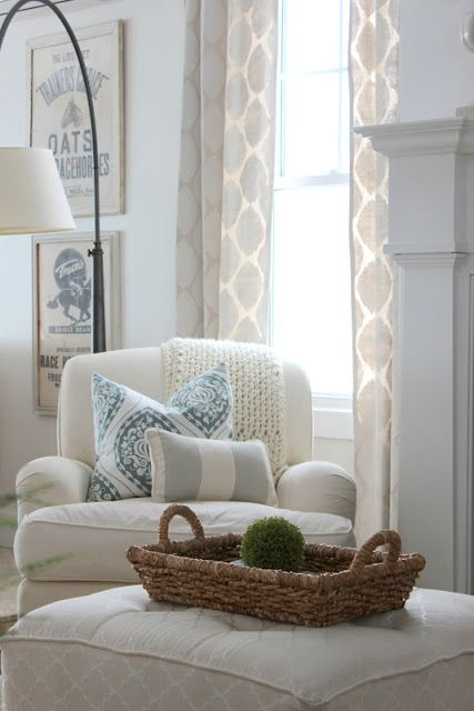 "An easy to remember ""recipe"" for mixing fabrics in a room: Large (often floral), geometric (medium), small"