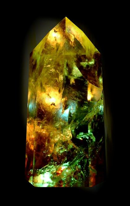 gold and green fantasy crystal