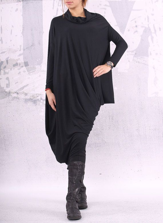 Black extravagant asymmetrical tunic dress / plus size tunic / oversized dress / long sleeved dress /  - CL002 on Etsy, 552:67 kr