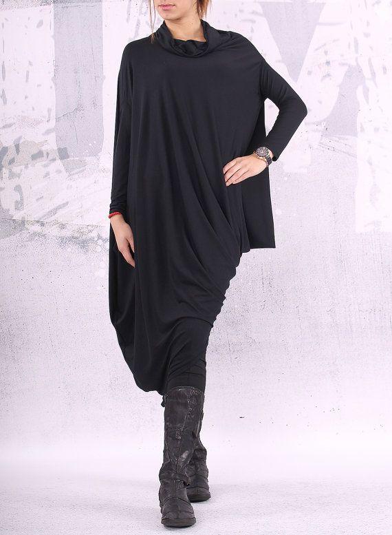 Black extravagant asymmetrical tunic dress / plus size tunic / oversized dress / long sleeved dress /  - CL002 on Etsy, 552:67kr