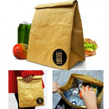 Bolsa para llevar la comida al estilo americano. Como las de papel marrón típicas, pero de material plástico muy resistente, impermeable, rígida y con el interior recubierto de material aislante