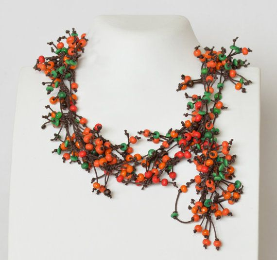 Necklace Red Statement Multi Strand Long Winter by Cardoucci