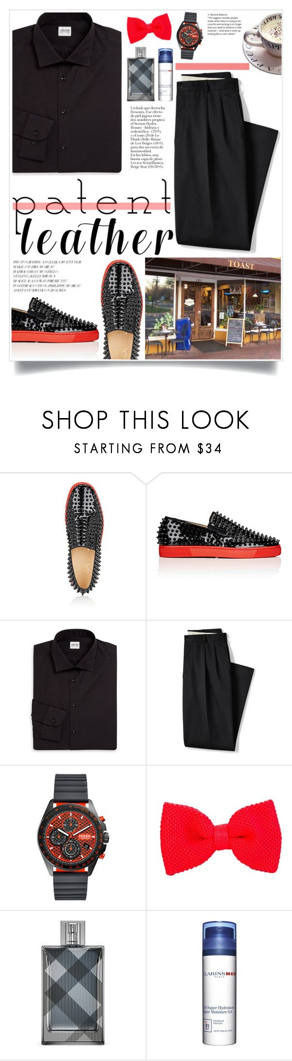 """Mr. Perfect: Choi Siwon"" by iamrendrawati ❤ liked on Polyvore featuring Christian Louboutin, Armani Collezioni, Lands' End, FOSSIL, 40 Colori, Clarins, men's fashion and menswear"