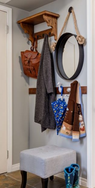 Small back entrance with space to hang coats and backpacks - design trick 'make it purposeful'