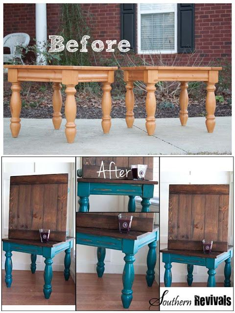Southern Revivals: The Teal Twins - An Endtables Revival. Turquoise and stained wood top furniture makeover color is gypsy teal by valspar