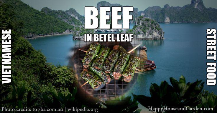 Beef in betel leaf Vietnamese Street Food