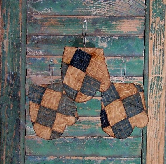 Tattered Mitten Ornaments (set of 3), handmade from #antique #quilt by Prairie Primitives Folk Art. $14 on #Etsy!